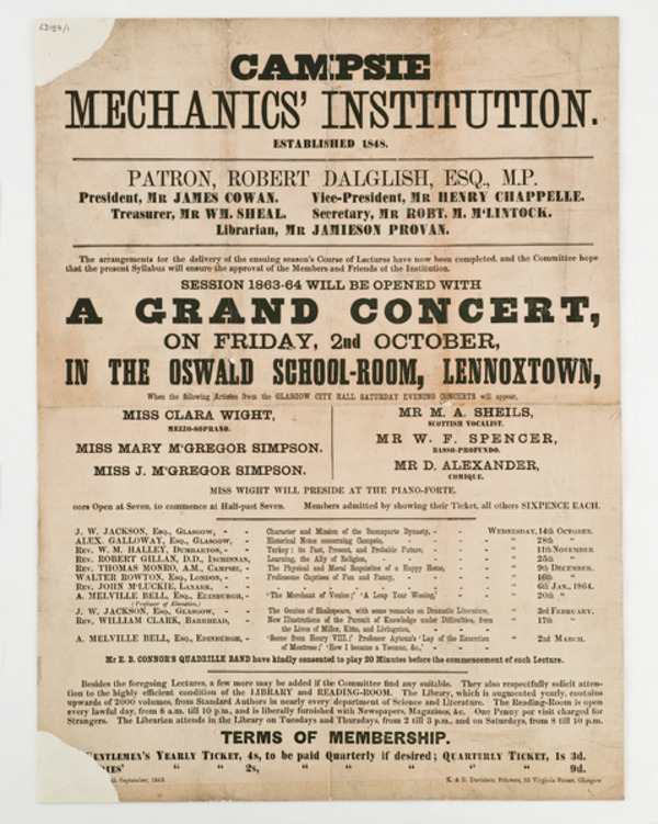 Campsie Mechanics' Institution Poster