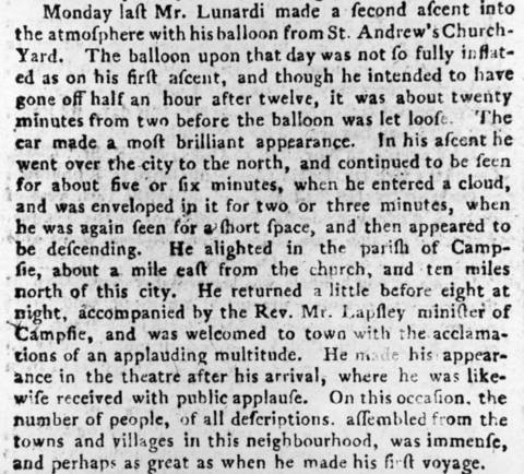 Newspaper report of Lunardi's balloon flight
